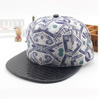 Wholesale Vogue Snapback Hat - 2016 New Vogue Dollar Sign Baseball Cap Crocodile Snapback Hats Flat Peaked Bone Hats 6pcs lot free shipping