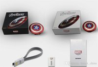 Wholesale Smart Phone External Battery Charger - Power Bank 6800mAh Captain America Power bank Dual USB charger for smart mobile phone 6800mah Universal Portable external battery