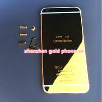 étui en or 24 carats achat en gros de-2016 réel 24K plaqué or batterie peau de couverture arrière de logement pour iPhone 6 pour iphone6s plus 4.7 cas 24kt 24k édition limitée d'or