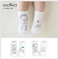 Wholesale gril baby - Baby Socks New Autumn Korean Fashion Cute Cartoon gril boy print Cotton Asymmetric Ship Socks Floor Non Slip Socks