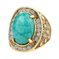 cristal balançado venda por atacado-Hot 2017 Moda Anéis De Ouro Para As Mulheres Inlay White Crystal Oval Do Punk Rock Grande Anel de Jóias