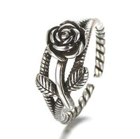 Wholesale 925 Silver Rose Flower Ring - Fashion 925 silver plated rose flower charm open rings vintage style Anti-Silver finger ring for women Girl TY023