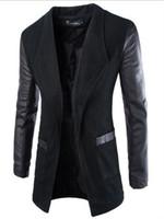 kore palto satışı toptan satış-Ücretsiz kargo 2016 Yeni Moda Kore Tarzı erkek Ceket Deri Bez Kol Placket Uzun Ceket Ince Yün Coat Top Satış