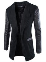 venda casaco coreano venda por atacado-Frete grátis 2016 Nova Moda Estilo Coreano Jaqueta De Couro Dos Homens Jaqueta de Pano de Manga Longa Casaco De Lã Fino Top vendas