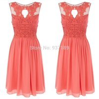 Wholesale Top Dresses Cheap Price - Coral Dresses Bridesmaid Knee Length Chiffon Top Lace Sheer Actual Images 2016 Summer Beach Gowns For Girls Cheap Price Wholesale
