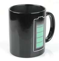 Wholesale Temperature Cup Battery - 1PC Black Cups Color-Changing Cup Battery Indicate Coffee Heat Cold Hot Temperature Sensitive Cup