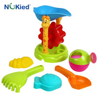Wholesale Sand Buckets Beach Toys - NUKied Cute Kids Sand Beach Bucket Toys Set of 6pcs Children High Quality ABS Plastic Toy Baby Bathroom Blaying with Water Toys