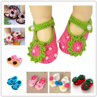 Wholesale Korean Baby Wholesaler - Handmade wool baby shoe children's woven infant shoes Korean fashion clothed barefoot sandals princess crochet baby shoes free pattern