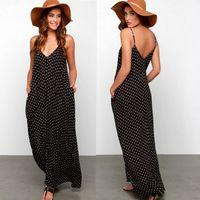 Wholesale Maxi Skirt Dotted - Summer Women Bohemia Maxi Dress V-Neck Polka Dot Print Casual Dresses Chiffon Beach Dress with Pocket Sleeveless Long Spaghetti Strap Skirt