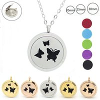 Wholesale Butterfly Locket Pendant - With chain as gift! 316L Stainless Steel butterfly design (20mm 25mm 30mm) Aromatherapy Perfume Diffuser Locket pendant