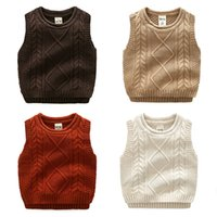 Wholesale Boys Knitwear Clothing - Boy Knit vest Kids Sweater Solid Dimond Twist Fashion Children clothes 2017 All-matched children Autumn winter cotton knitwear 3-7years