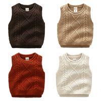 7a6bcfae18 Chaleco Boy Knit Kids Sweater Solid Dimond Twist Moda ropa para niños 2017  Todos los niños coincidentes Otoño invierno prendas de punto de algodón  3-7years
