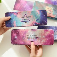 Wholesale Iron Stationery Pencil Box - Wholesale-Space Starry Sky Series Iron Metal Pencil Case For Pen Stationery Storage Box Korea Style Kids Gift