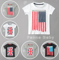 Wholesale Uk Flag T - Kids Summer Clothes Infant Boys Girls Short Sleeve T-shirt Baby USA & UK Flag Printed Top Tee Children Fashion Outfits