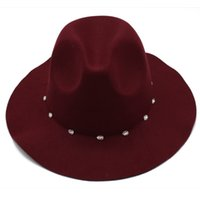 1d05058ed2f Claret Hat Cap for Women Fashion Lady Fedora Hats with Diamond Female Flat  Wide Brim Jazz Caps Felt Trilby Autumn Winter New GH-224