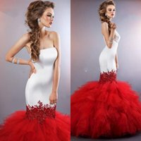 Wholesale Slim Fitting Mermaid Bridal Dresses - 2016 Custom made gorgeous red mermaid wedding dresses strapless sweep train tiered skirts backless slim bodice fit bridal gowns