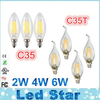 Wholesale Led Bulbs Dimmable Cool White - 2W 4W 6W Edison LED Filament Bulbs Dimmable E12 E14 E27 Led Candle Lights Lamp 360 Angle Energy Saving AC 110-240V