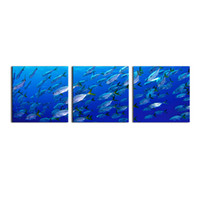 Wholesale underwater paint - Deep-Sea Fishs Picture 3-Panel Modern Art Underwater Ocean Sea World Giclee Canvas Art