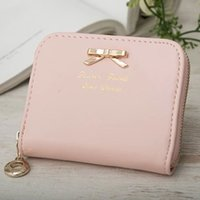 Wholesale Collector Coin Holders - Fashion Sugar 7 Colors Partysu Style Women Bowknot Pendant Zipper Leather Wallet Coins Holder Collector Purse Wallet