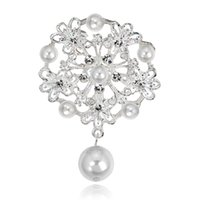 Wholesale Pin Tin Wholesale - Newly pearl brooch gold brooches silver pins woman decoration gift jewelry alloy silver colour round fashion brooch
