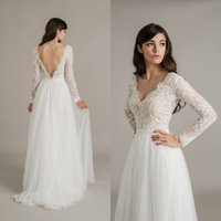 Wholesale Summer Tops Skirts - 2016 Country Wedding Dresses A Line V Neck Sexy Backless Bridal Gowns Illusion Long Sleeves Lace Top Tulle Skirt Bohemian Sweep Train