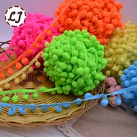 Wholesale Gold Colored Lace Trim - new hot sale 5yd lot 25mm width colorful PP ball elastic lace ribbon tassel trim sewing material accessories for home decoration
