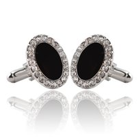 Wholesale Crystal Mens Cuff Links - Black Big Gem Crystal Cufflinks For Men High Quality Lawyer Groom Wedding Luxury Cufflinks For Mens Shirt Cuff Links zj-0903915