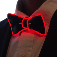 Wholesale Neon Bow Tie - Neon Nightlife Light Up Bow Tie Masquerade wedding for Boys led light tie
