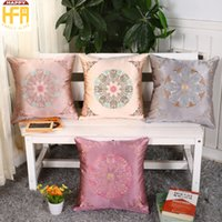Wholesale Embroideries Cushion - 45*45Cm Decorative Pillow Covers Cushion Case Satin Embroidery Pillow Covers One Side Flower Pattern Cushion Cover Living Room Decoration