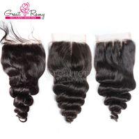 peru saçı gevşek dalga üst kapatma toptan satış-Brezilyalı Hint Malezya Perulu İnsan Saç Üst Dantel Kapatma Gevşek Dalga Ücretsiz Orta 3 Yollu Bölüm 4