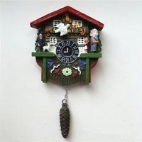 Wholesale Tourism Souvenirs - sticker black Handmade Painted Germany Cuckoo Clock 3D Fridge Magnets Tourism Souvenirs Refrigerator Magnetic Stickers Home Decoration