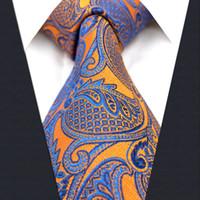 gravatas alaranjadas de paisley para homens venda por atacado-U26 Floral Laranja Amarelo Azul Gravatas dos homens Gravatas 100% Seda Jacquard Tecido Novo