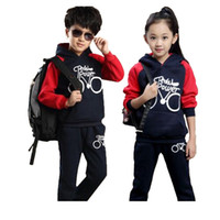 Wholesale period clothing for sale - Children s sports suit girls boys children clothing set baby clothes British wind fleece suits spring and autumn period TZ02