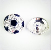 Wholesale Sports Jewerly - 2016 Hot European Cup Soccer Netherlands 20mm Noosa Snap Button Buckle Diamond Clasp Buckle Peach Heart Diy Charm Button Jewerly Bracelets