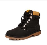 Wholesale Leather Black Men S Boots - 206 Fashion Men s warm winter snow boots casual Martin boot British male high-top leather snow shoe lace-up Men Black shoe ankle boots
