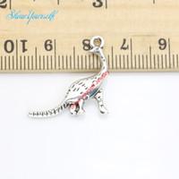 динозавр ручной работы оптовых-Античный посеребренные Дракон динозавр подвески подвески для ожерелье ювелирные изделия DIY ручной работы ремесло 21X25mm