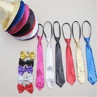 Wholesale Fedora Hats For Dancing - Wholesale-Hat + Tie + Bow Tie 3in1 Set Unisex Adult Bling Jazz Caps Hat Sequin Fedora Hats for Women Men Street Dance Party Costume