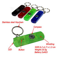 Wholesale Compass Whistles - 4 in 1 Multi Function SS keychain with Led Light Outdoor Life Preserver Whistling and Compass F424