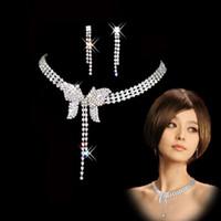 Wholesale over lock - Rhinestone Crystal Silver Tone Crystal Fashion Prom Women's Wedding Bridal Jewelry Crystal Rhinestone Necklace Earring Sets Gift