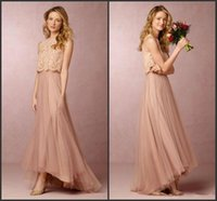 Wholesale High Low Skirt Cheap - 2017 Summer Boho Two Pieces Bridesmaid Dresses Lace Bodice High Low Skirt Summer Beach Cheap Maid of the Honor Dresses