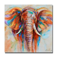 Wholesale large hand painted canvas art - Hand painted oil painting african wild animal elephant wall pictures oil painting large canvas art cheap