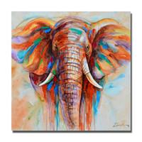 óleo, pintura, elefante venda por atacado-Mão pintura a óleo pintado africano animal selvagem da parede elefante fotos pintura a óleo grande arte da lona barato