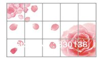 Wholesale Sticker Plastic Roses Flower - Free shipping Removable Kitchen Decal Art Rose Flower DIY Home Decor Wall Sticker