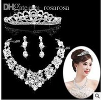 Wholesale Wedding Jewelry Sets Crowns - Wholesale-free shipping 2015 new design fashion women bridal wedding crown   necklace  earrings set   women marriage jewelry set