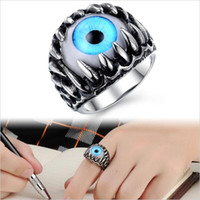Hot Sell Rock Punk Party Gothic Opal Design Superman Ring personnalisé Vert / Bleu Cat's Eye Vintage Men Finger Jewelry Ornament 431