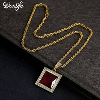 Wholesale Wholesale Women Cuban Link Chain - Mens Iced Out Hip Hop Square Pendant Necklace Red Stone Charm Cuban Link Chain Women Necklaces Gold