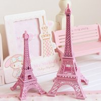 Wholesale Party Supplies Eiffel Tower Decorations - 25cm 10 inch pink Paris Eiffel Tower model Metal Art Crafts Unique Decor Wedding centerpieces table centerpiece