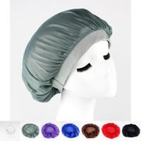 Wholesale Summer Bonnets - Satin hair Bonnet cap Sleeping Cap Hat for women hair wrap Skullies and Beanies Sleep Caps free shipping