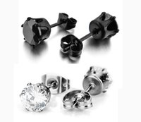 Wholesale Mens Round Earrings - our Stainless Steel Mens Womens Stud Earrings Black Round Cubic Zirconia Inlaid 6mm Free Shipping