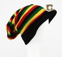 Wholesale Jamaican Reggae Hat - Wholesale-Jamaican Reggae visor Rasta hat slouchy baggy costume hat Knitted Halloween striped Hat costume Cap